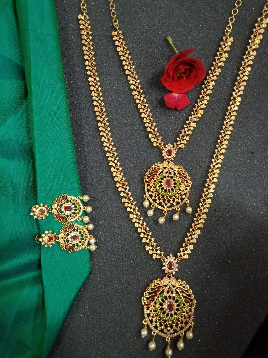 Haram Necklace Earring Bridal Set Cz
