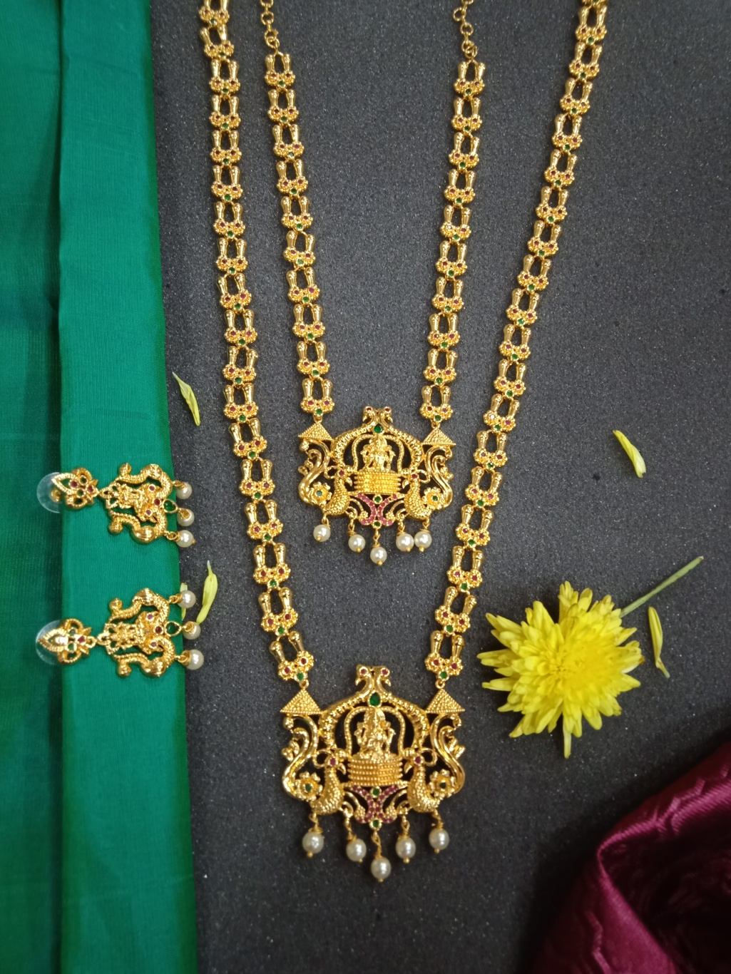 Temple Jewellery Set Lakshmi Haram Jewellery