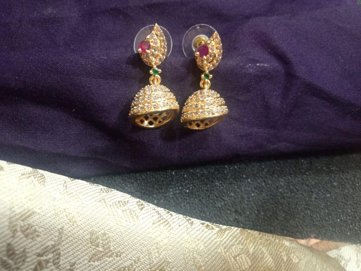 cz earrings buttalu south indian style