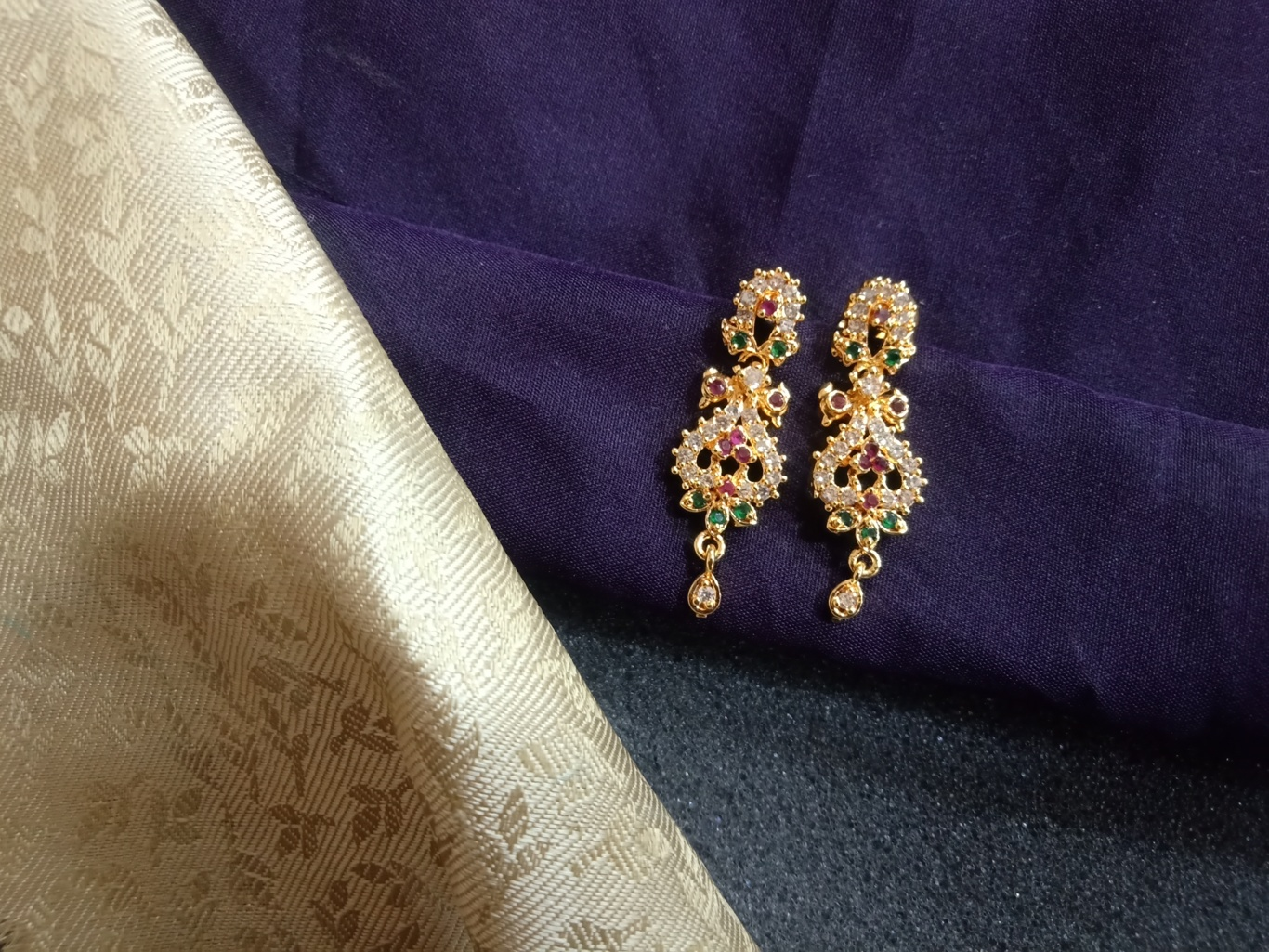 one gram gold jhumka earrings with price cz