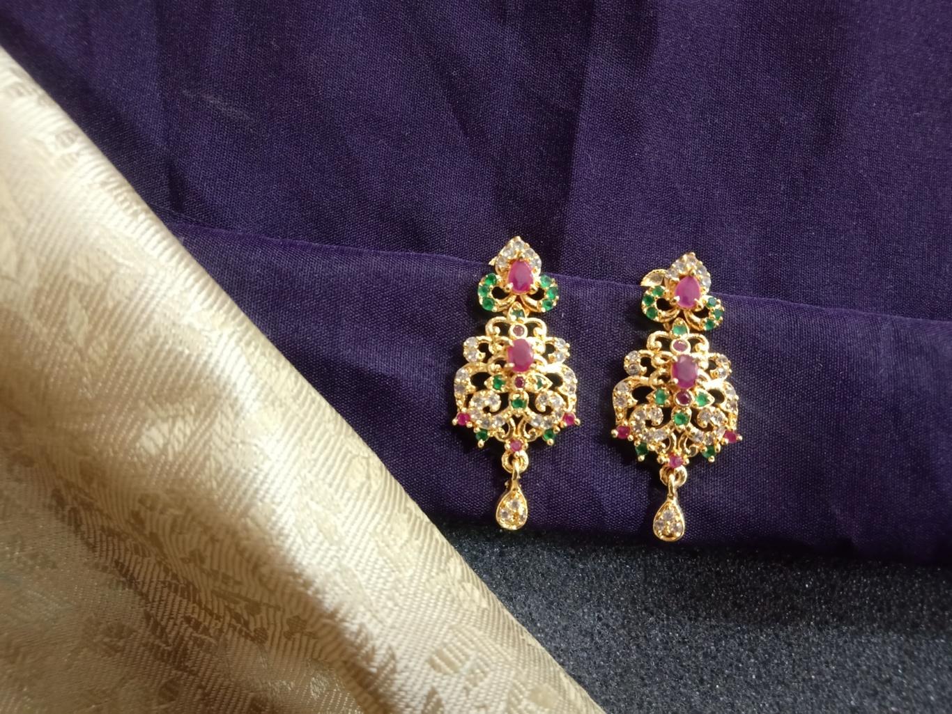 cz earrings jhumkas south indian earrings
