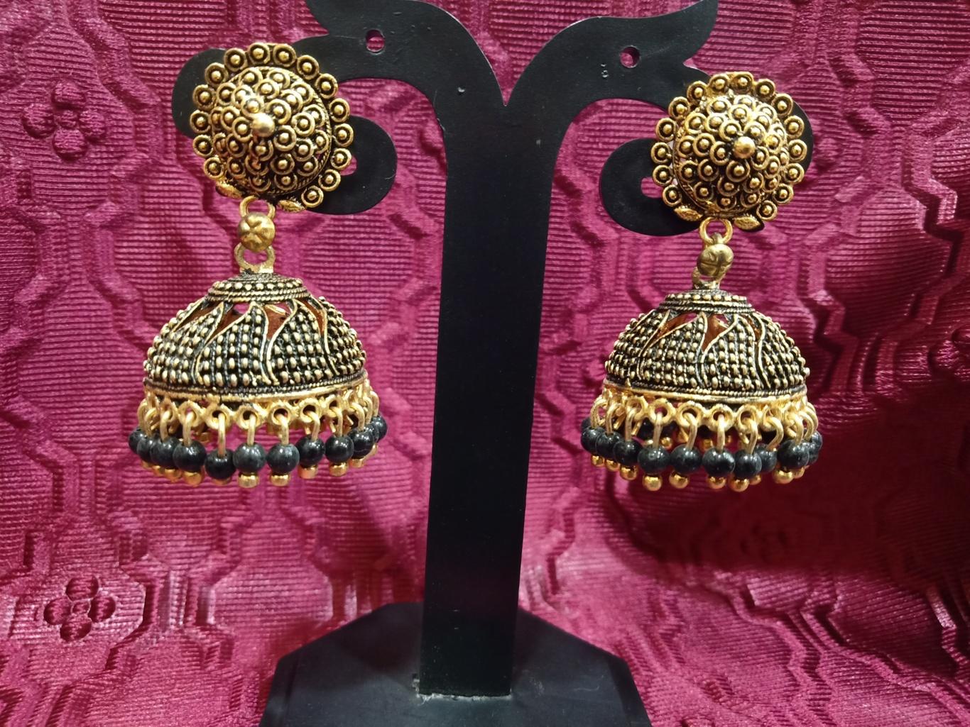 black pearl jhumkas earrings online