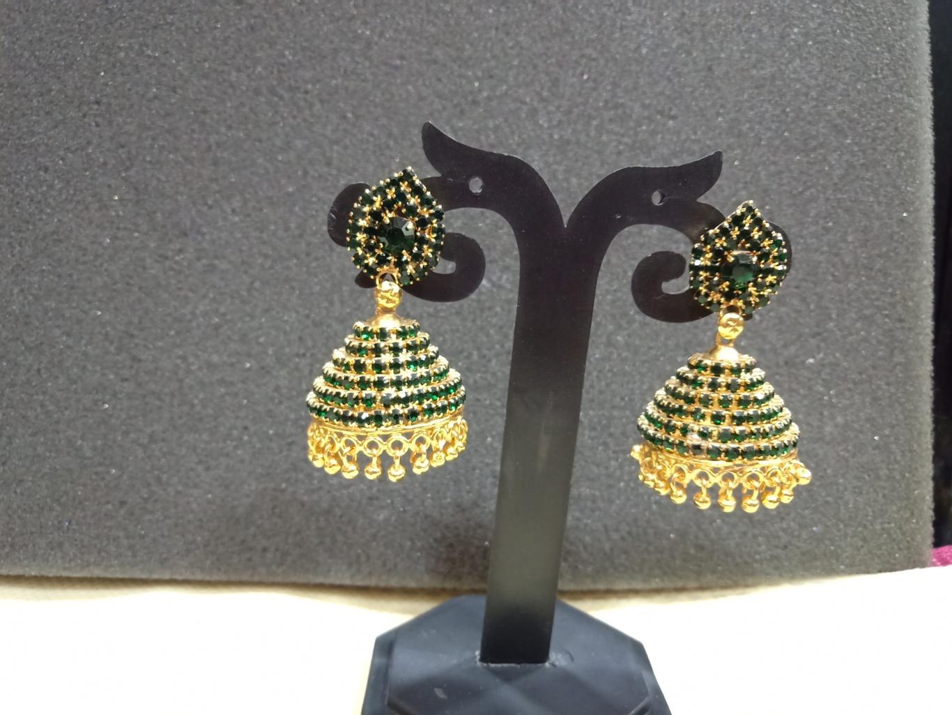 dark green jhumka earrings online india