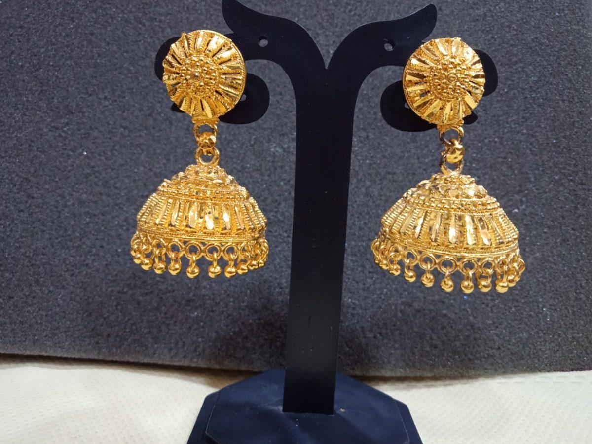 big jhumka earrings gold artificial online