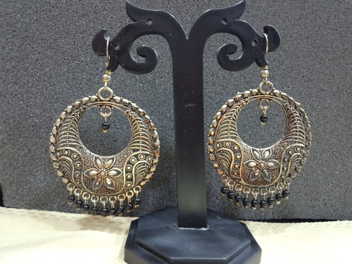 big jhumka earrings oxidised online shopping