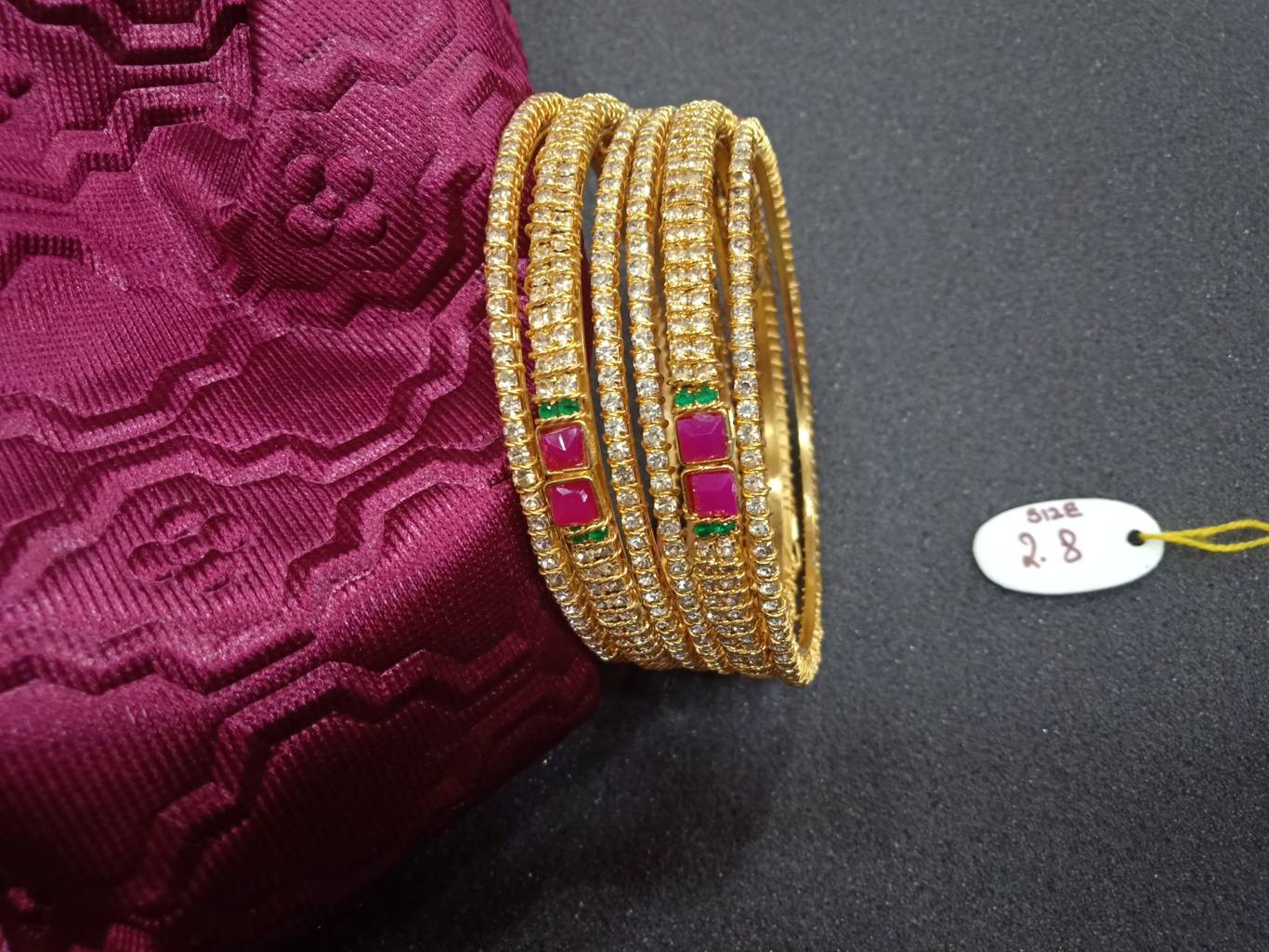 white stone indian bangles online with price