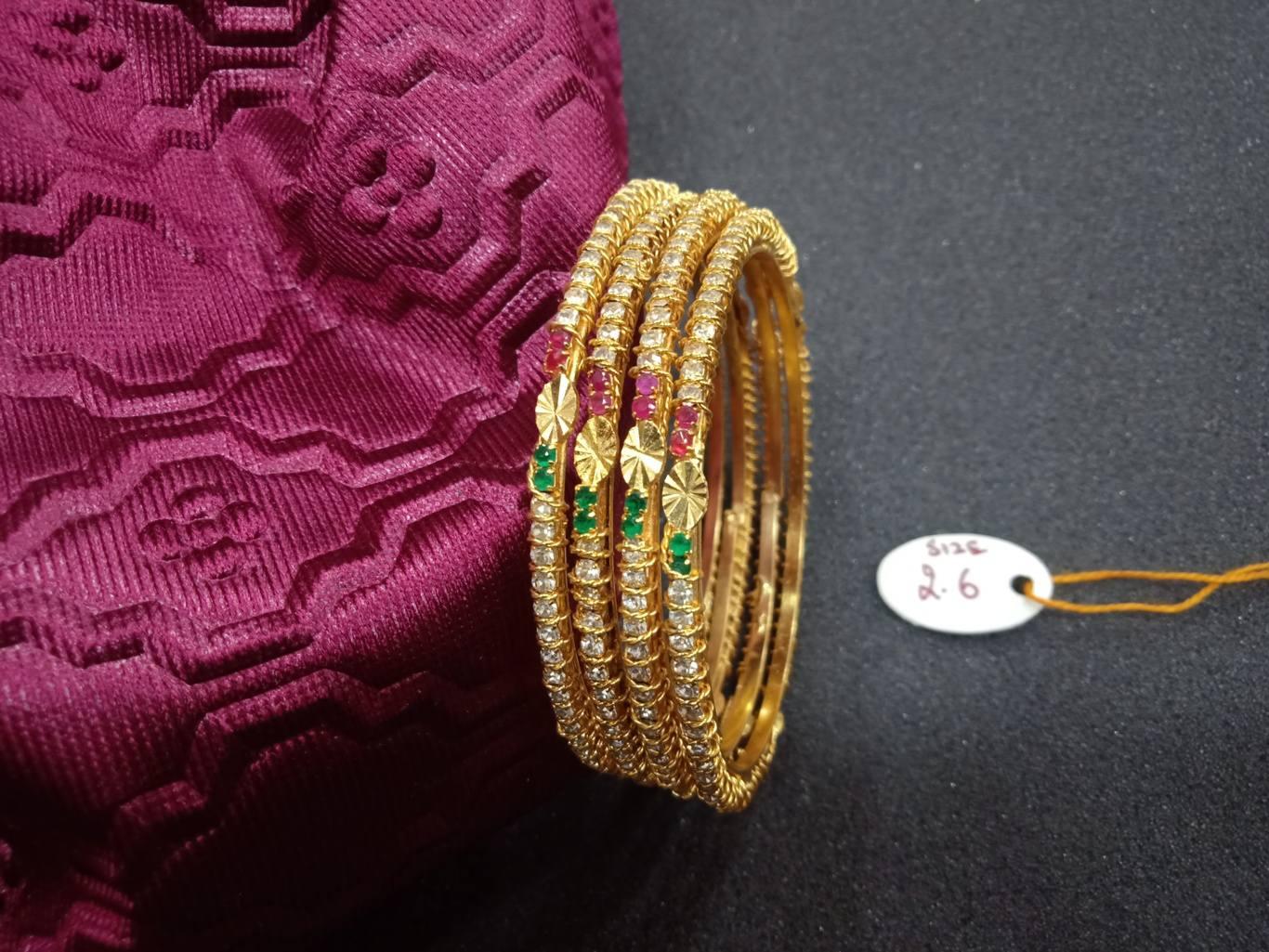 white stone bangles indian design online