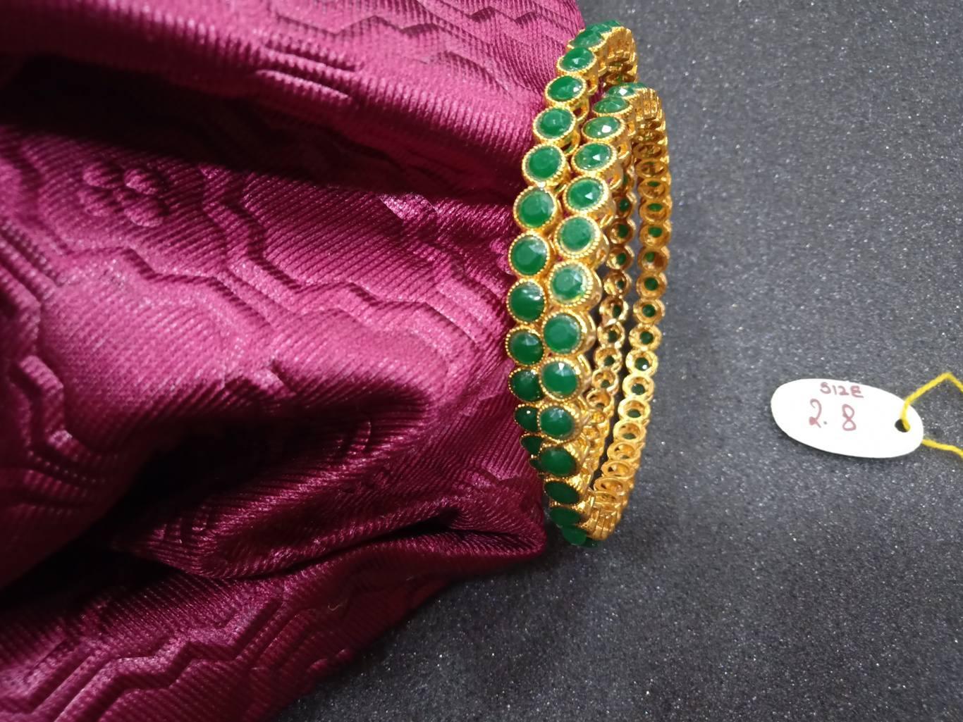 green stone bangles online shopping